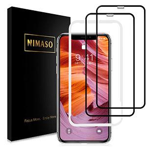 <Nimaso iPhoneXS Max 用 全面保護フィルム液晶強化ガラス>
